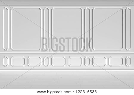 Simple classic style non-color white interior illustration - white wall of classic style white empty room interior colorless 3d illustration