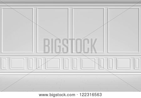 Simple classic style non-color white interior illustration - white wall in classic style empty white room interior colorless 3d illustration