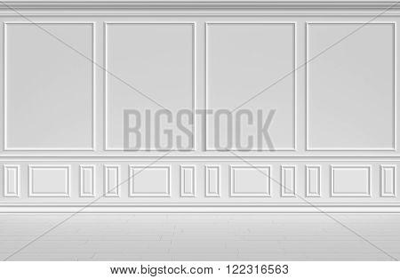 Simple classic style non-color white interior illustration - white wall in classic style empty white room interior colorless 3d illustration