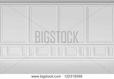 Simple classic style non-color white interior illustration - white wall of classic style empty white room interior colorless 3d illustration.