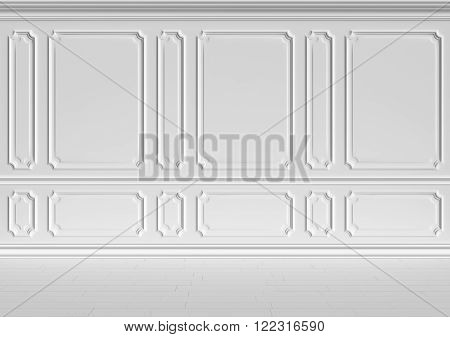 Simple classic style non-color white interior illustration - white wall of classic style white empty room interior colorless 3d-illustration