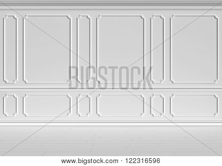 Simple classic style non-color white interior illustration - white wall in classic style white empty room interior colorless 3d illustration