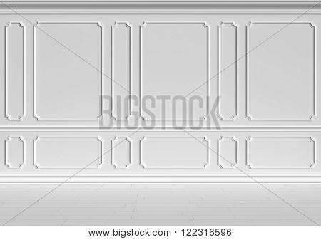Simple classic style non-color white interior illustration - white wall in classic style white empty room interior colorless 3d illustration