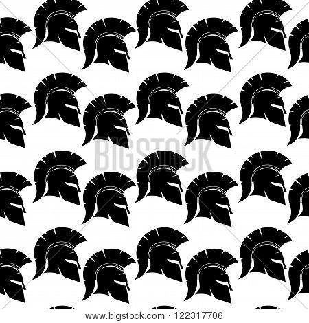 Spartan black helmet pattern for seamless background