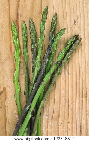 Asparagus Bouquet Bunch on the Old Wooden Table