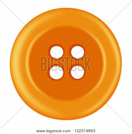 Plastic Button Isolated - Orange
