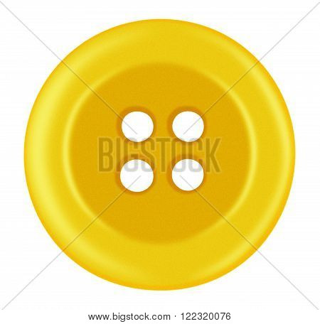 Yellow Plastic button isolated on white with Clipping Path
