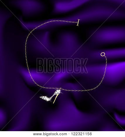 dark background and a jewelry bracelet with pendant shoes