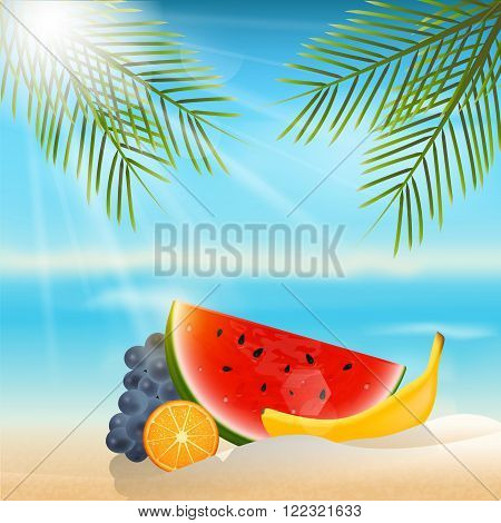 Summer background with fruits.Orange, grapes and watermelon.