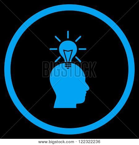 Genius Bulb vector icon. Image style is a flat icon symbol inside a circle, blue color, black background.