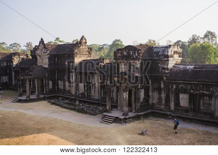 Angkor Wat, Siem Reap, Cambodia - Februaty 10, 2015 :: Part of the Angkor Wat temple in Cambodia.