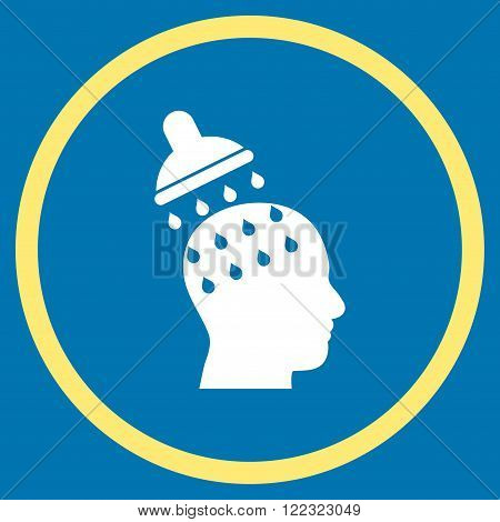Brain Washing vector bicolor icon. Image style is a flat icon symbol inside a circle, yellow and white colors, blue background.
