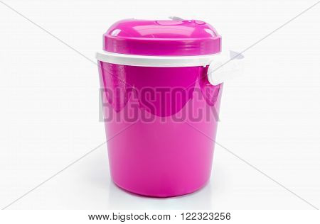 Pink plastic water canteen or Plastic ice bucket on white background.