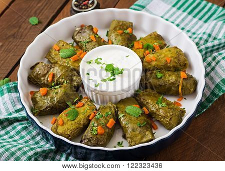 Dolma stuffed with rice and meat - greek traditional appetizer.