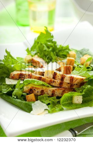 Chicken Caesar salad  on the white plate