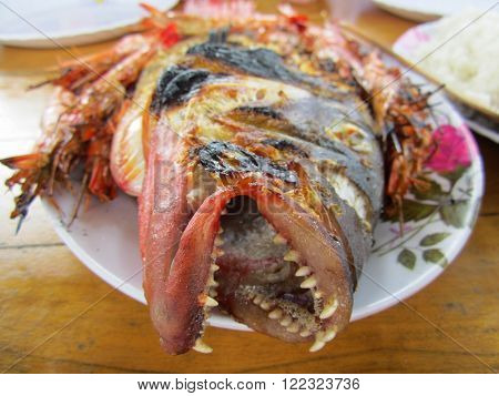 Closeup picture of a Barbecued Red Snapper