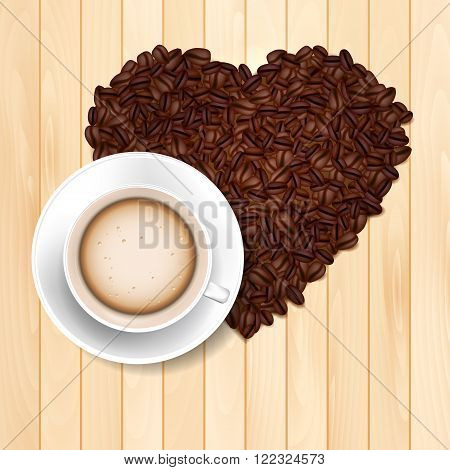 Cup of coffee on the wooden table and coffee beans heart shape - vector illustration