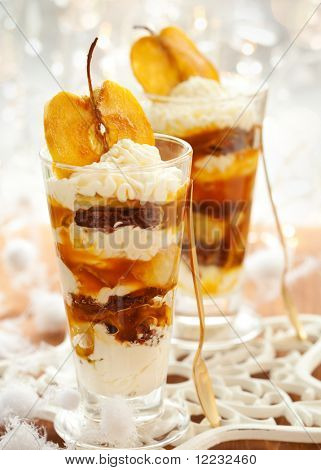Caramel Apple Parfait with whipped cream for Christmas