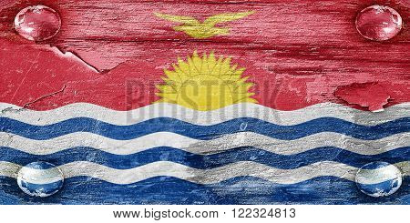 Kiribati flag with some soft highlights and folds