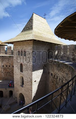 Soroca, Moldova - May 22, 2015: Architectural details of medieval fort in Soroca, Republic of Moldova