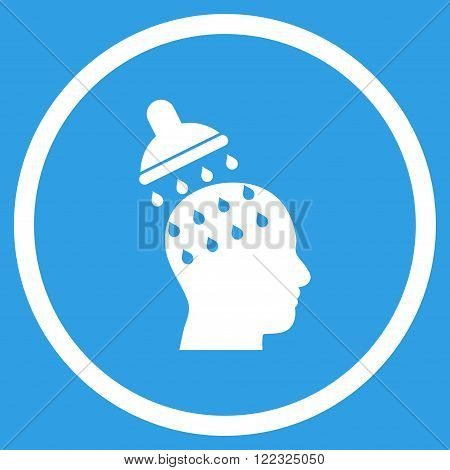 Brain Washing vector icon. Image style is a flat icon symbol inside a circle, white color, blue background.