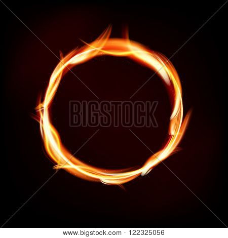Fiery Circle Of Flames On Dark Background