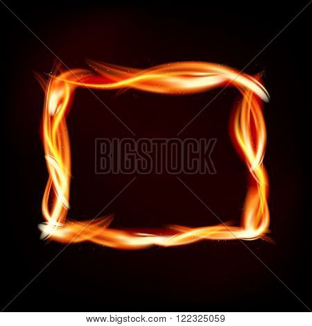 Fiery Rectangle Of Flames On Dark Background