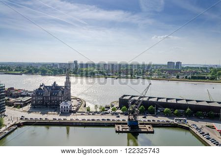 Aerial view over the city of Antwerp in Belgium from Museum aan de Stroom.