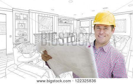 Smiling Contractor Holding Blueprints Over Custom Living Room Drawing.