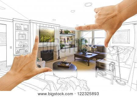 Female Hands Framing Custom Living Room Drawing Photograph Combination.