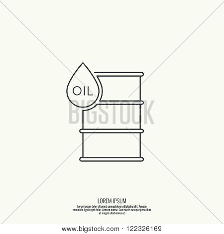 Icon petroleum barrels of oil drop. Line art