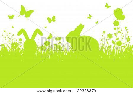 Abstract spring meadow silhouette with bunnies flowers and butterflies - vector illustration