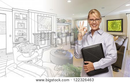 Woman with Okay Sign Over Custom Bedroom Drawing and Photo Combination.