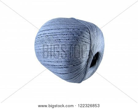 Ball of strings of blue color for knitting by spokes on a white background