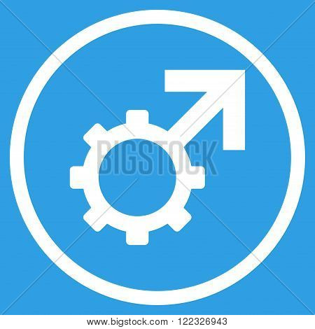 Technological Potence vector icon. Image style is a flat icon symbol inside a circle, white color, blue background.