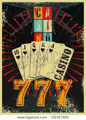 Casino vintage grunge style poster with playing cards. Retro vector illustration.