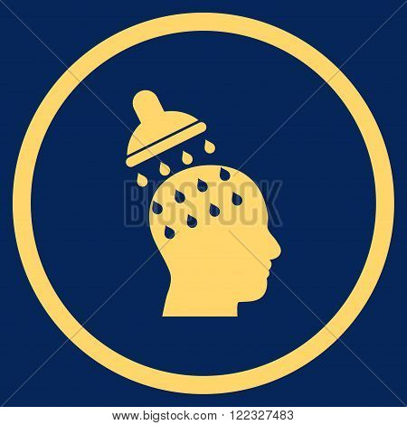 Brain Washing vector icon. Image style is a flat icon symbol inside a circle, yellow color, blue background.