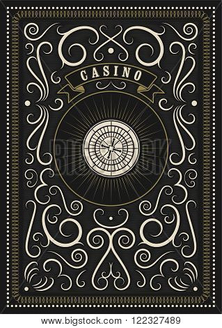 Casino calligraphic vintage style poster with roulette. Retro vector illustration.