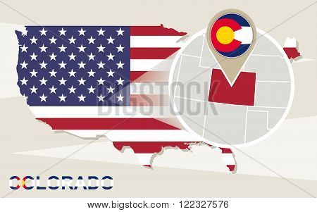 Usa Map With Magnified Colorado State. Colorado Flag And Map.