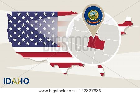 Usa Map With Magnified Idaho State. Idaho Flag And Map.