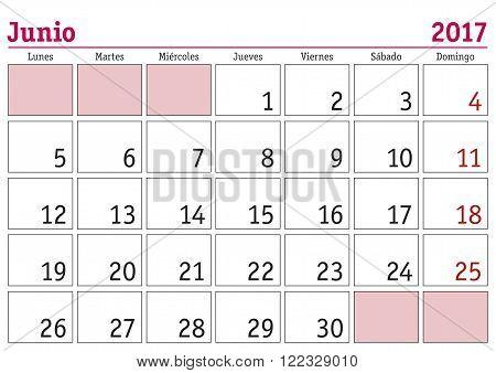 Junio 2017 Wall Calendar Spanish