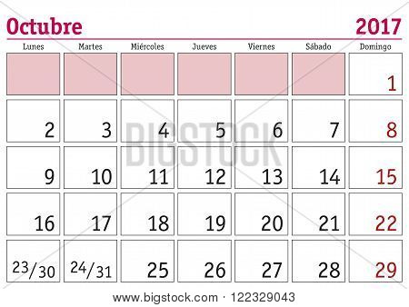 Octubre 2017 Wall Calendar Spanish