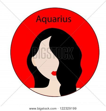 Aquarius zodiac sign. Icon with fashionable woman face.