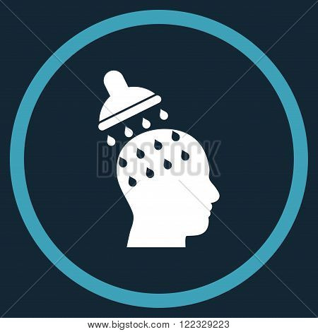 Brain Washing vector bicolor icon. Image style is a flat icon symbol inside a circle, blue and white colors, dark blue background.