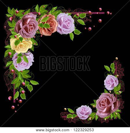 Garland of colored roses in the shape of the corner. Old style. Corner ornament. Pastel shades.