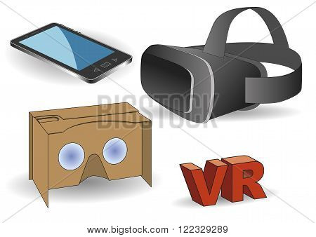 Virtual reality equipment. Virtual reality headset vr cardboard and a mobile phone.