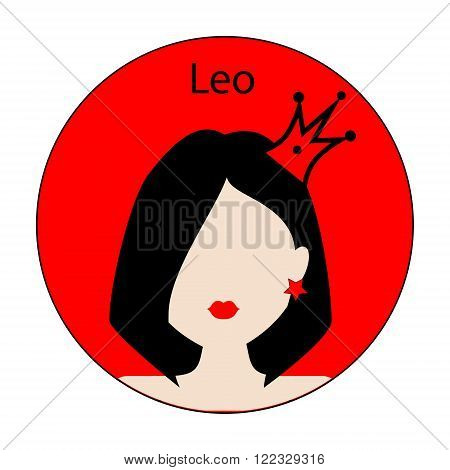 Leo zodiac sign. Icon with fashionable woman face with trendy hairstyle. Red and black colors. Perfect for design.