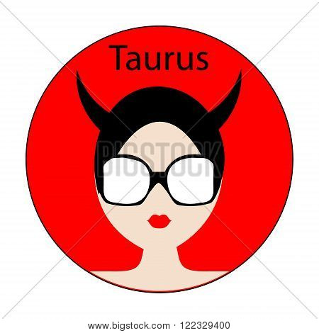 Taurus zodiac sign. Icon with fashionable woman face with trendy hairstyle. Red and black colors. Perfect for design.