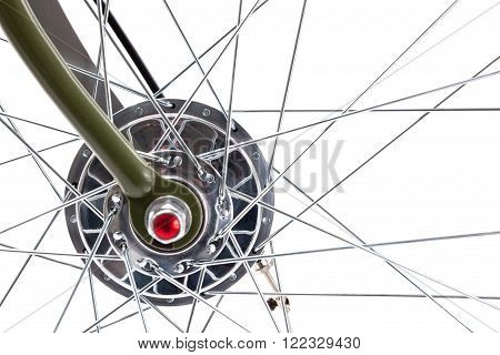 Vintage road bicycle wheel front hub with spokes composition, isolated on white.