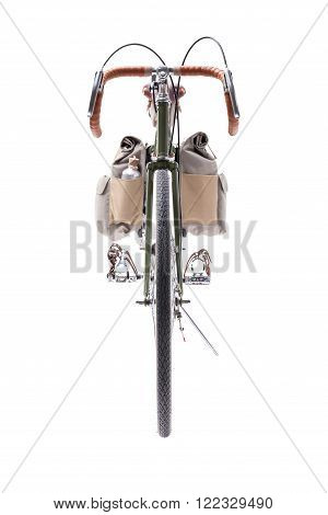 Vintage green road bicycle isolated on white. Front view.
